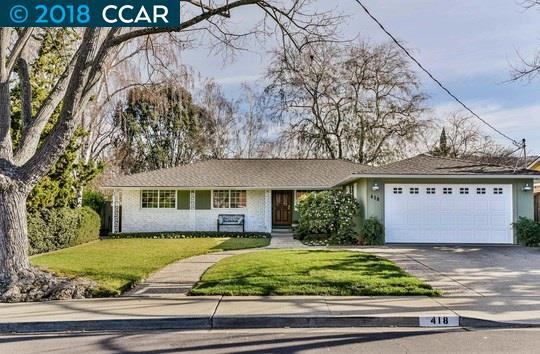 واحد منزل الأسرة للـ Sale في 418 Dogwood Drive 418 Dogwood Drive Walnut Creek, California 94598 United States