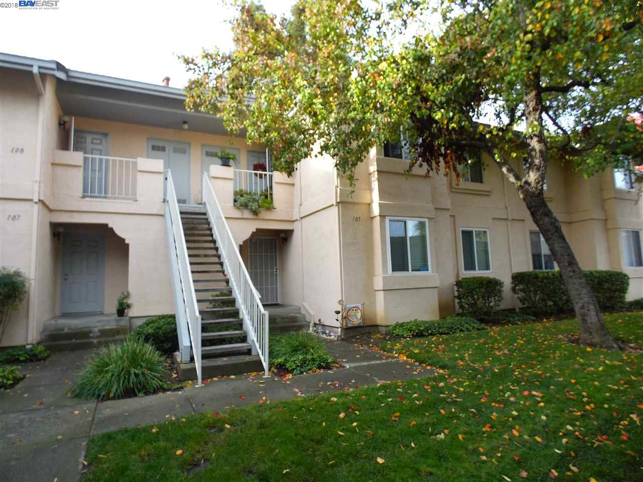 Sought after Brookmeadow complex, near Safeway center and Hwy 580. Amenities include 2 pools, 3 spas, clubhouse, tennis courts, playground and large park. Updated 2-bedroom 2-bath first floor condo. Dual pane windows new in 2016. New blinds 2008. Kitchen updated fall 2017. New vinyl flooring, new cabinets, new counters. Fridge new 2002, Dishwasher 2011, stove 2007, carpets 2008. Walk-in shower in updated master bath 2007. Hall bath updated 10/18.  New water Heater 2014. Air conditioner/furnace new 2002. New thermostat 2016. Fire sprinkler system. In-unit laundry, with new stackable washer/dryer 2017. Secluded location in complex, surrounded by green belts. Enclosed patio with storage and sensor light. 2 assigned parking spaces, one covered. Lots of guest spaces. Lower HOA fees for above average amenities.