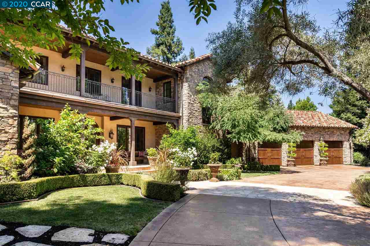 On almost an acre, one of a kind property shows like Napa Estate w/rose gardens, stone hardscape, mature landscaping & Imported custom Cantera Limestone fountain. Dream backyard features Hydrazzo pool/spa, 2 outdoor kitchens, cabana w/full bath, flagstone patios, wood-burning fireplace, lava fire pit, built-in trampoline & sport court. Nearly 6,000 sqft total living space: Main House 5,531 sqft, Cabana 460 sqft. Custom finishes: Alderwood doors, Lutron lighting system, hardwood floors & custom millwork. Open floor plan w/impressive living & dining areas, kitchen/family combo, custom office, wine room & main level master suite. Chef's kitchen offers custom cabinetry, granite countertops, copper sink, high end appliances, center island w/Black Walnut countertop, Travertine backsplash & walk-in pantry. AV system w/Creston & Ipad controls, keypads & 43 speakers. Close to award-winning schools, parks, Iron Horse trail, Las Trampas hiking, short drive to freeway, shopping, restaurants.