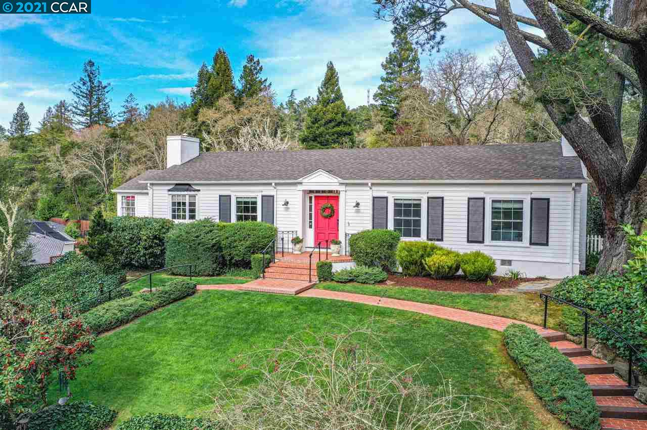Classic Orinda modern farmhouse gem has an elegant, set back from the country road ambiance & offers 4 bedrooms/3 full baths and 2,514 sq ft of a semi-open floor plan with limitless entertainment choices. Nestled among lush foliage, walk up gradual steps to enter the brightly lit foyer onto original wide plank hardwood floors, modern kitchen with quartz countertops, high end appliances & sunny windows. A cozy living room opens through French doors to the fabulous sun-porch for indoor-outdoor entertaining with vintage tiled floor & access to multiple seating areas, backyard, gardens, spa & patio. Master bedroom has convenient access to the back patio & a newly updated master bath features Carerra marble floors, Carerra marble double sink vanity, rain shower head & oil rubbed bronze finishes throughout. A home office offers  privacy & endless telecommuting possibilities. Three additional bedrooms also include a junior master suite with separate entrance. Updated throughout, move in ready