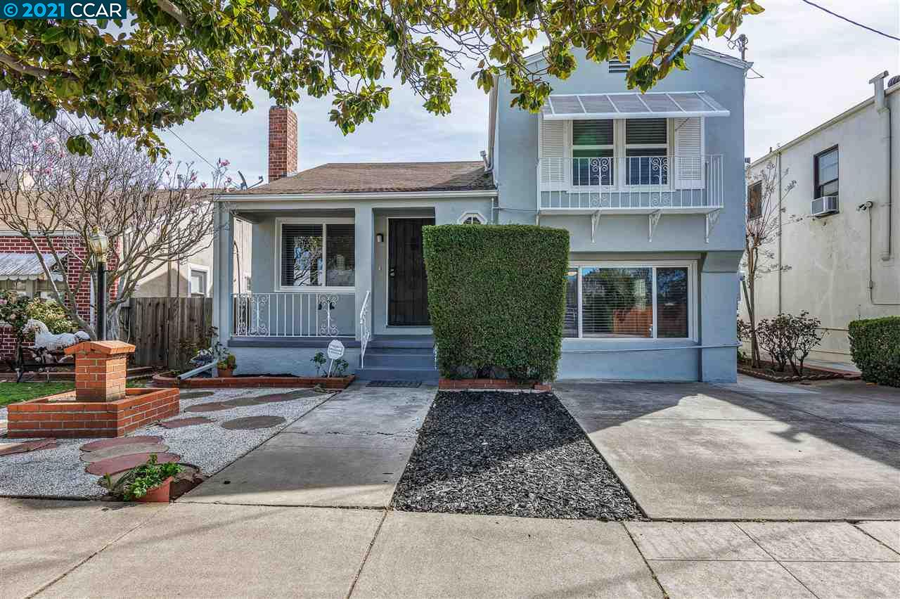 Classic split-level bungalow located in beautiful, tree-lined Historic Central Addition neighborhood. Elegantly refreshed with new interior and exterior paint, refinished hardwood floors, remodeled kitchen with slate countertops, Stainless Steel appliance, and breakfast area. The main level also includes a dining room and formal living room with fireplace and mantle. The lower level houses a large family room, which could be used as a 3rd bedroom or office space, plus an updated bathroom with double pane windows.  There is a separate entrance from the outside making it a great private space or potential rental unit. Upstairs there are 2 bedrooms and 1 updated bathroom. The lovely covered private patio offers dining al fresco with your social bubble! The backyard also has a storage shed, and both the front and back yards have been nicely landscaped.  There is plenty of off-street parking with nearby transportation including BART, Transbay Express Bus, and freeway, making it very