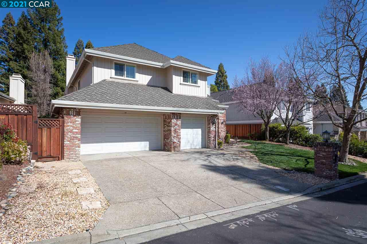 Light-filled, ultra-private 2-level home bordering Falls Golf Course w/in gates of Blackhawk Country Club. Cul-de-sac location. 3,163+/- sf. 4 bdrms, 2.5 bths. Formal living rm w/frpl. Formal dining rm w/view windows. Galley eat-in kitchen. Family rm w/walk-around bar & frpl. Vaulted ceilings, parquet hardwood + new carpet, plantation shutters. Never be left in the dark with the newly installed whole-house natural gas generator. Multiple sliders to peaceful bkyd. Redwood covered and open deck, lawn & garden bds w/views of golf course, trees, & distance hills. Expansive master suite w/gas frpl, sitting room, golf-course views. Bthrm w/skylight dual vanities, soaking tub, shower, walk-in closet w/Calif. Closet built-ins. 3-car garage, security alarm, Berber carpet, laundry rm w/LG washer/dryer. Fabulous location near 2 championship golf courses, clubhouses, tennis cts, fitness ctr. Near Blackhawk Plza, downtown Danville, freeway access, top SRVUSD schls, Livermore Valley Wine Country.