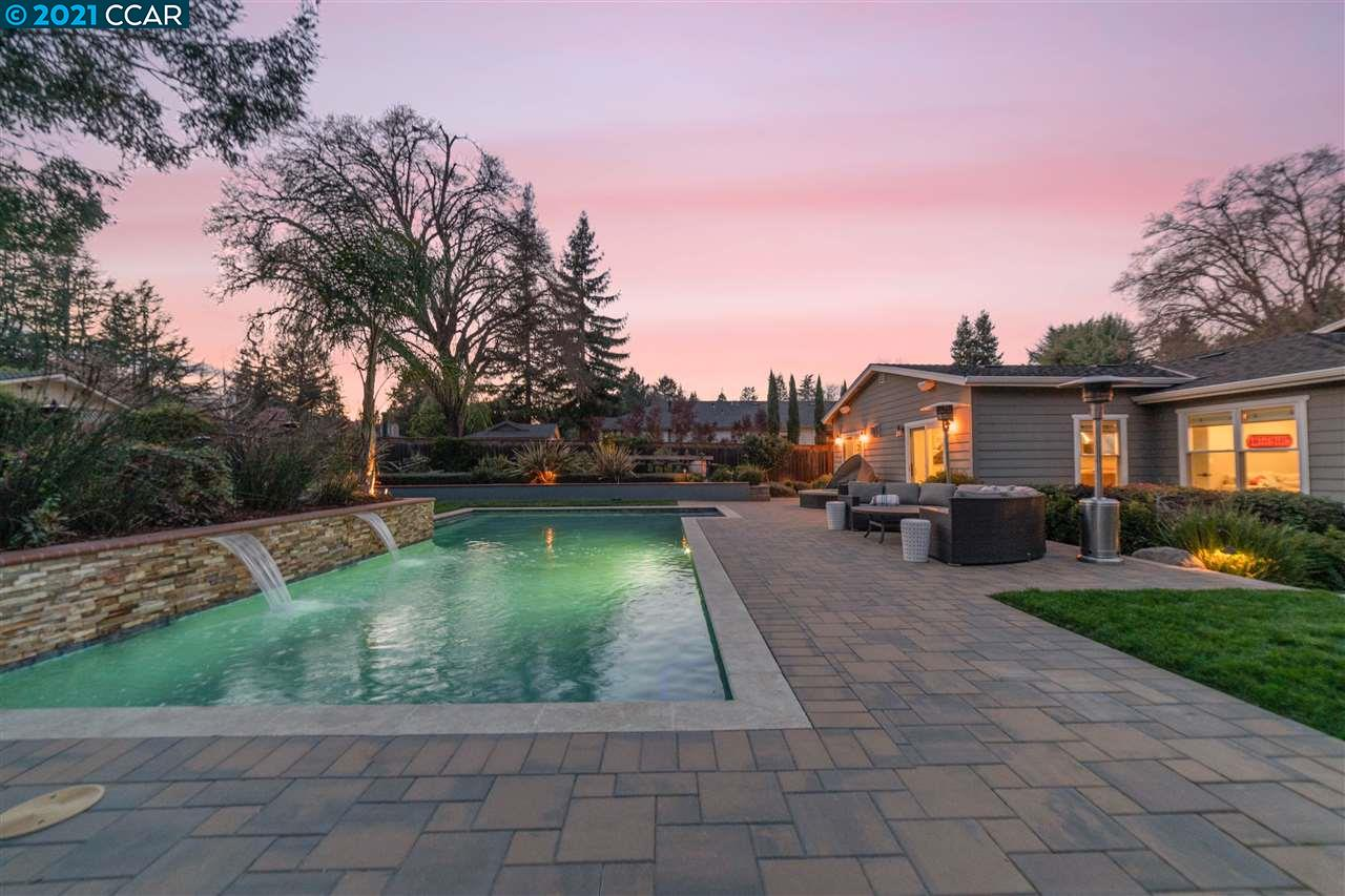 Stunning single level home in Westside Alamo, rebuilt in 2015. On 1/2 acre flat lot, expansive backyard: glistening pool 100% salt water, stone patios, lush lawns & sport court. 2 side yards: serene patio w/built-in BBQ, garden beds & storage shed. Sunsets w/Las Trampas views! Open floor plan: great rm w/dining area, kitchen & family room w/gas fireplace. Temp cntrlld 400+ btl wine room. Highlights include white oak hardwood floors, crown molding, built-in mudroom, Solar owned for home & surround sound. Chef's kitchen: oversized center island & peninsula w/bar seating, custom cabinets, granite countertops, high-end appliances. Butler's pantry & walk-in pantry. Master retreat: vaulted ceilings, walk-in closets, access to backyard. Ensuite: built-in vanities, separate tub, walk-in shower w/2 shower heads. 2nd bdrms are generous in size w/largest bdrm w/full ensuite & backyard access. Close to top-rated schools, Las Trampas hiking & minutes to charming downtown, shops & restaurants.