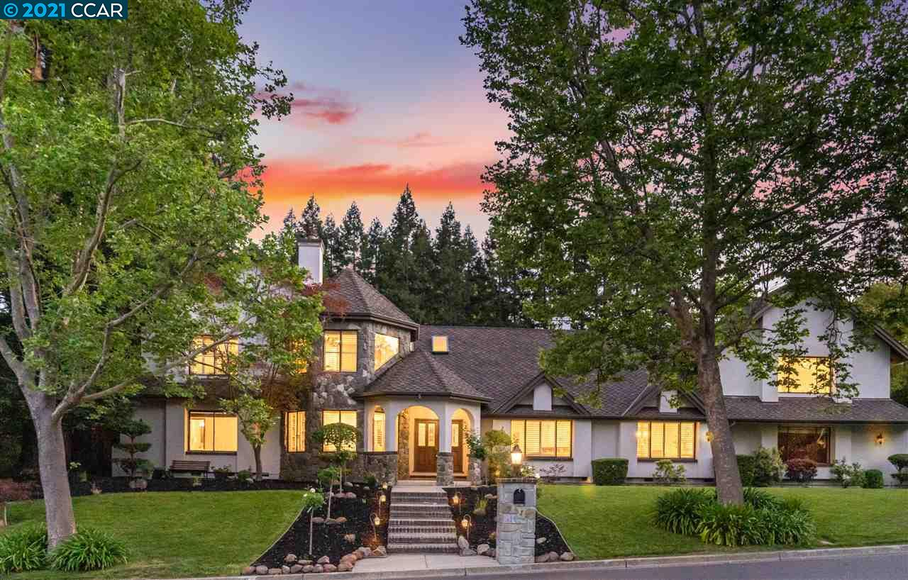 Sensational home in desirable Blackhawk CC, surrounded by towering redwood trees & lush landscaping. Situated on over 1/2 acre lot, expansive backyard: pool/spa, stone patios, beautiful decks, lush lawn, gardens & hillside views. Impressive floor plan: high ceilings, hardwood floors, living rm w/gas fireplace, elegant dining rm & executive office w/ built-ins. Family rm: gas fireplace, built-in bar & french doors to backyard. Newly upgraded Chef's kitchen: refinished white cabinetry, quartz counters, high-end SS appliances, center island, opens to family rm & overlooks backyard. Three main level bdrms which are all ensuite & 2 upper master suites. Master retreat 1: sitting rm w/2-way gas fireplace, built-ins, walk-in closet & spa-like ensuite. 2nd suite: private staircase, sitting area, walk-in closet & full bath. Enjoy Blackhawk living w/2 championship golf courses, club house, fitness center & tennis courts. Close to parks, trails, Blackhawk Plaza & top-rated SRV schools.