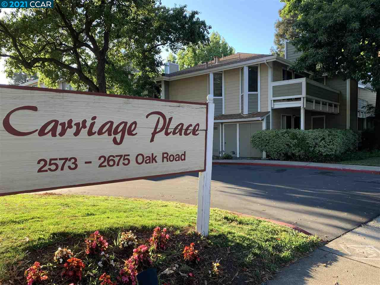 Desirable and lovely end unit in Carriage Place complex located on 2nd floor with storage space. Half a mile away to Pleasant Hill BART and Renaissance Walnut Creek. Across Walden park and walking distance to other parks & shops. Trail is close by and ideal for walks and bike rides. Refrigerator, stackable washer and dryer included with sale. New microwave installed. Water heater replaced 1/12/2018, Furnace replaced 1/19/2017, electric stove replaced 2/20/2015 and stackable washer and dryer replaced 7/3/2014, according to seller. HOA recently approved hardwood floors can now be installed.