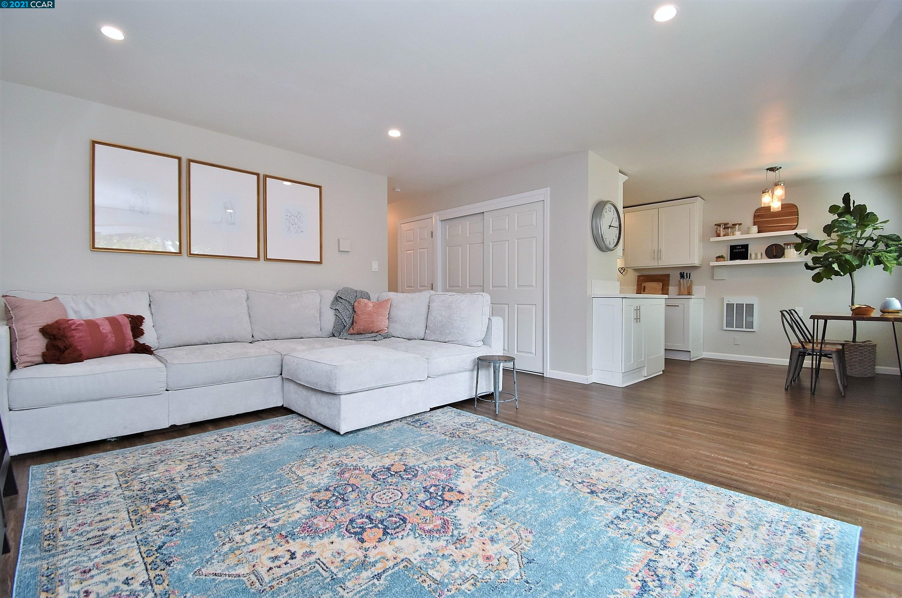 Open Sunday 1-4PM! Beautifully updated level-in Condo on the Pleasant Hill/Walnut Creek border! Updated kitchen featuring new white cabinetry, Quartz counters, stainless steel appliances and Luxury Vinyl Plank floors! Recessed lighting, inside laundry, dual pane windows and updated full bathroom. Great location near local Palos Verdes Mall Shopping, Larkey Park, BART and freeway access. Large outdoor private patio. See Matterport 3D tour.