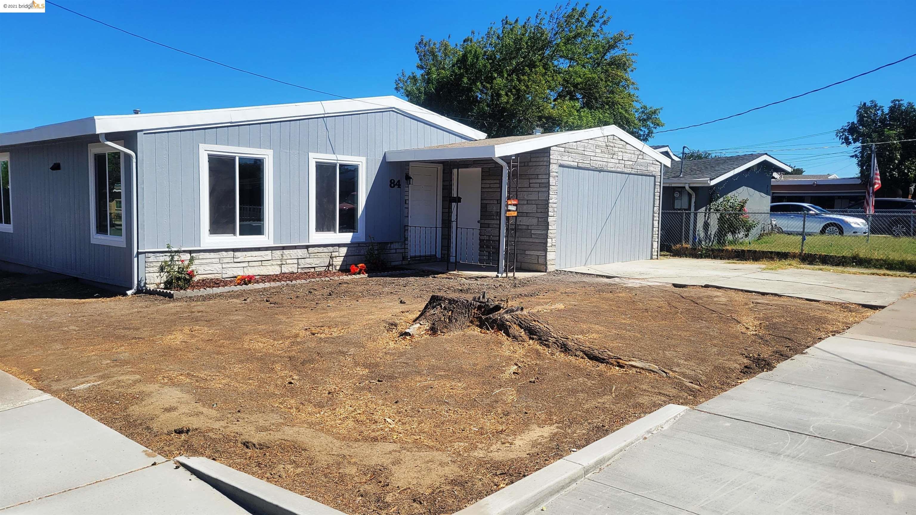 OPEN HOME 9/19 from 12-2. Lovely single story home! Completely remodeled! Welcome Home to a beautiful single-family one-story completely remodeled corner home.Public record shows 3 bed/1 bath, 882 sq ft, one car garage, 5,000 sq ft lot. Car garage was converted to 4thbedrm  &Laundry room,  making this home 1,052 sq ft (no permit for conversion).Oversized Private backyard is a great opportunity to make it into your own. Space for a garage and/or RV parking.Bright living room, wood beam high ceiling, and lots of natural light. Spacious bedrooms with wood beam high ceiling.Modern white kitchen, new cabinets &quartz countertop, new stainless steel appliances. Eat-in kitchen.New! New! New! New: double pane windows, new doors, bathroom vanity, bathtub, Waterproof Laminate floor, siding panels, paint inside &out, Central A/C &Heater. Newer roof. Updated electrical &and plumbing. Great Neighborhood, minutes from schools, parks, close to shopping and BART station, easy access to freeway.